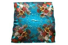 Итальянский платок из шелка синий с цветами 5301