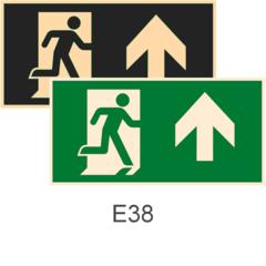 фотолюминесцентные знаки безопасности Е38 Направление к эвакуационному выходу прямо