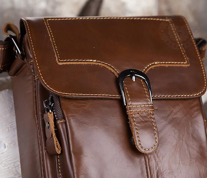 BAG434-2 Небольшая кожаная сумка с ремнем на плечо фото 04