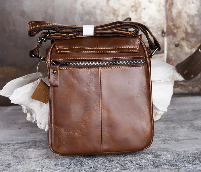 BAG434-2 Небольшая кожаная сумка с ремнем на плечо фото 06