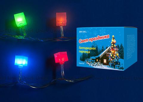 ULD-S0700-050/DTA MULTI IP20 CUBES-1 Гирлянда светодиодная с контроллером «Кубики», 50 светодиодов, 7 м, разноцветная, IP20,провод прозрачный