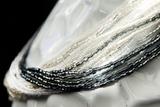 Бисерное ожерелье из 24 нитей серебристо-белое
