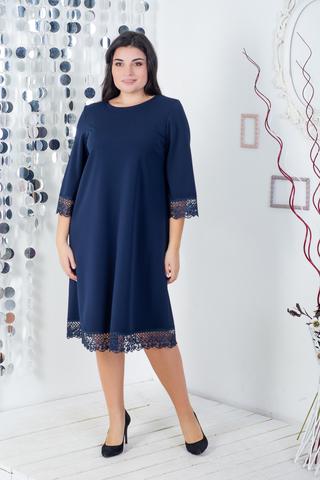 Лолита батал.  Нарядное платье с кружевом. Синий