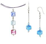 Комплект Estate Cubo с голубыми серьгами №02