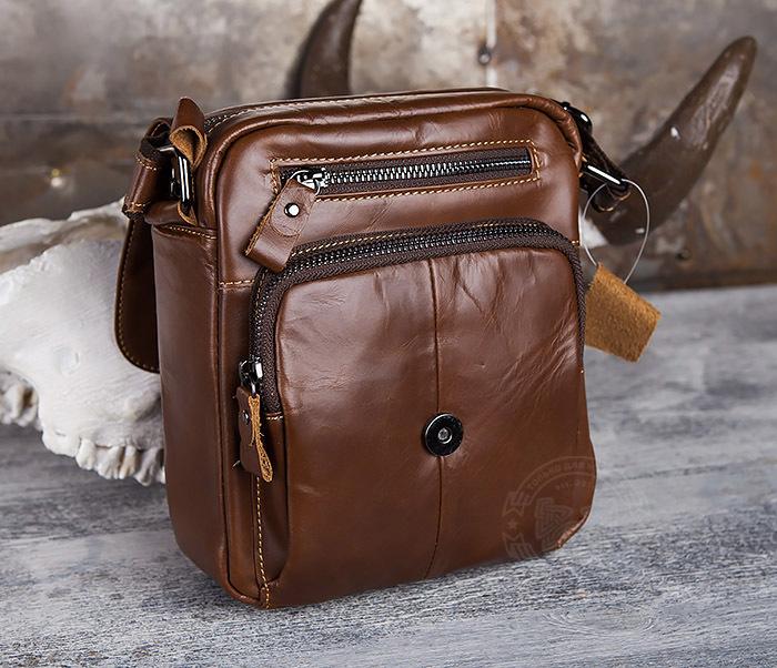 BAG434-2 Небольшая кожаная сумка с ремнем на плечо фото 08