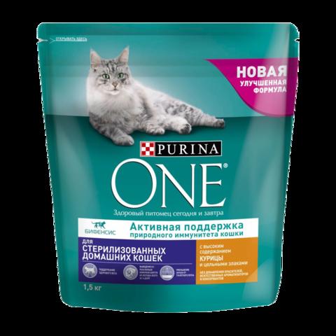 Purina One Sterilised Сухой корм для стерилизованных кошек живущих дома Курица и злаки