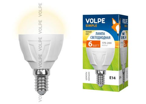 LED-G45-6W/WW/E14/FR/S Лампа светодиодная Volpe. Форма