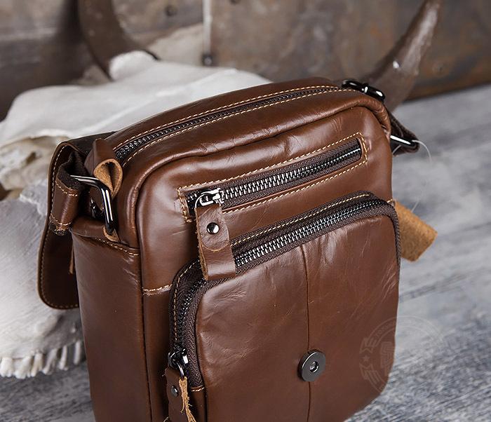 BAG434-2 Небольшая кожаная сумка с ремнем на плечо фото 09