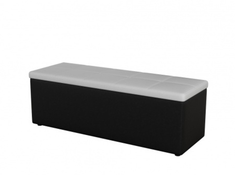 Пуф Orma Soft 2 двухместный Экокожа:  черный с белым