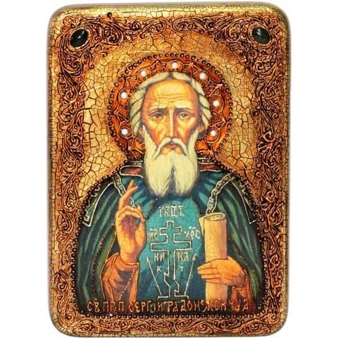 Инкрустированная икона Преподобный Сергий Радонежский чудотворец 29х21см на натуральном дереве в подарочной коробке