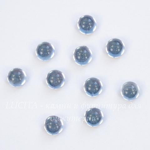Кабошон круглый Чешское стекло, цвет - бледно-синий, 5 мм, 10 штук