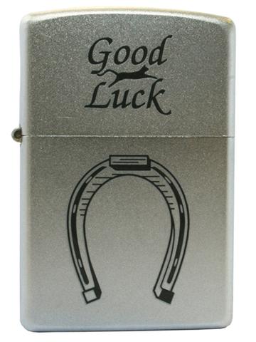 Зажигалка ZIPPO Classic Satin Chrome™ с изображением подковы и надпись Good Luck ZP-205 Horse Shoe
