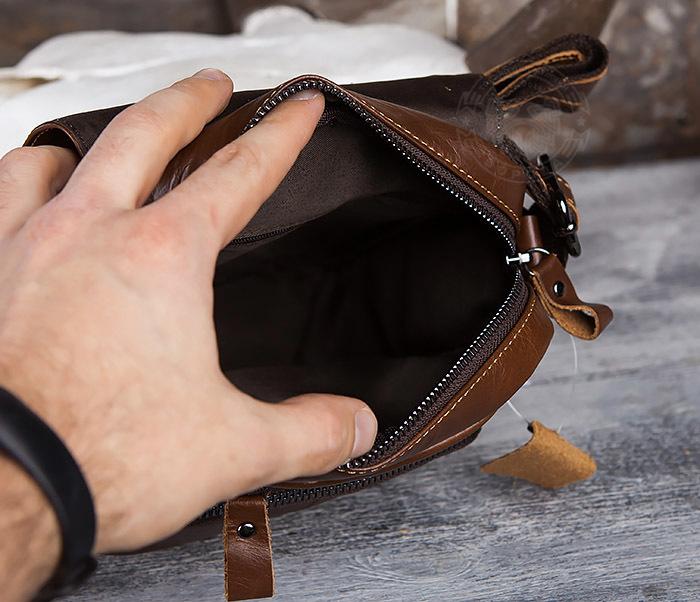 BAG434-2 Небольшая кожаная сумка с ремнем на плечо фото 10