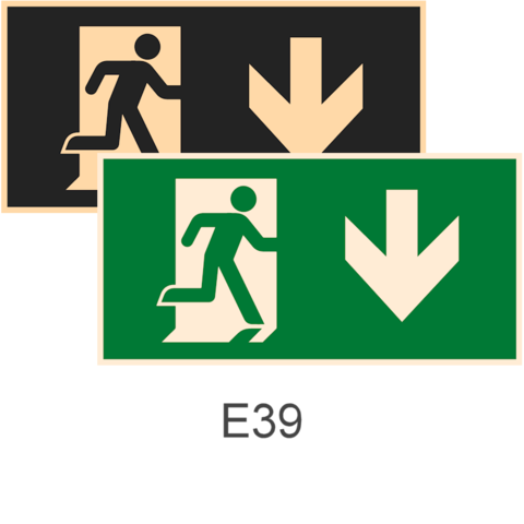 знаки фотолюминесцентные эвакуационные Е39 Указатель двери эвакуационного выхода (правосторонний)