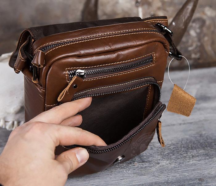 BAG434-2 Небольшая кожаная сумка с ремнем на плечо фото 11