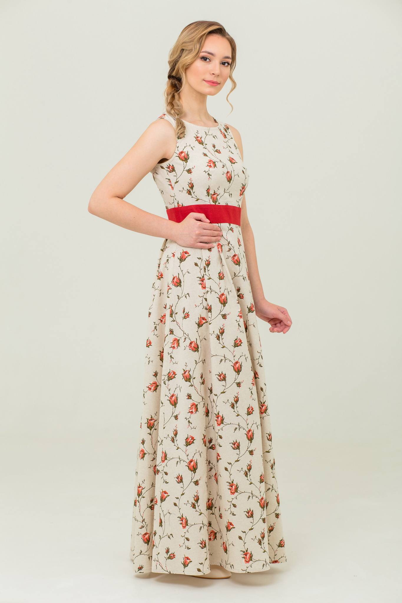 Платье в пол без рукавов Зайцевская роза