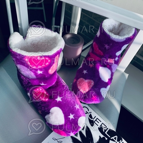 Тапки-сапожки женские Сердечки и звезды (цвет: Лиловый)