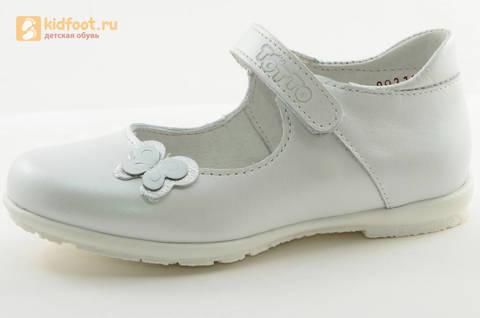 Туфли Тотто из натуральной кожи на липучке для девочек, цвет Белый, 10204A. Изображение 1 из 16.