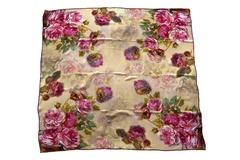 Итальянский платок из шелка коричневый с цветами 5328