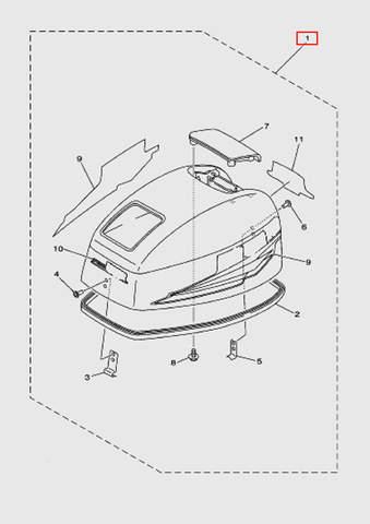 Капот для лодочного мотора T15, OTH 9,9 SEA-PRO (1-1)