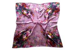 Итальянский платок из шелка сиреневый с цветами 5351