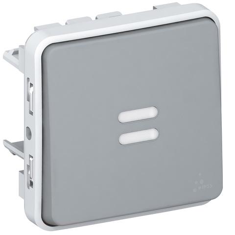 Выключатель одноклавишный проходной с индикацией Однополюсный переключатель на два направления с индикацией в комплекте с лампой - 10 AX - 250 В~. Цвет Cерый. Legrand Plexo (Легранд Плексо). 069512