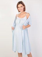 Евромама. Комплект для беременных и кормящих с коротким рукавом и кружевом большие размеры, меланж голубой