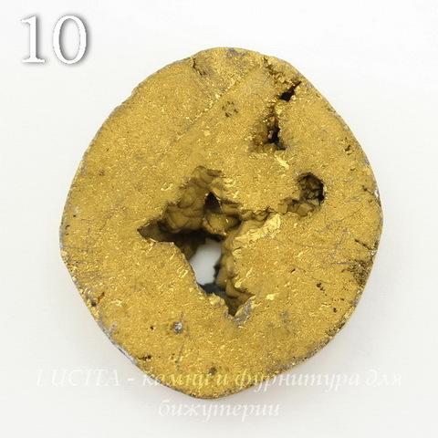 Бусина Агат с Кварцем с жеодой (тониров), цвет - золотой, 34-35 мм (№10 (35х31 мм))