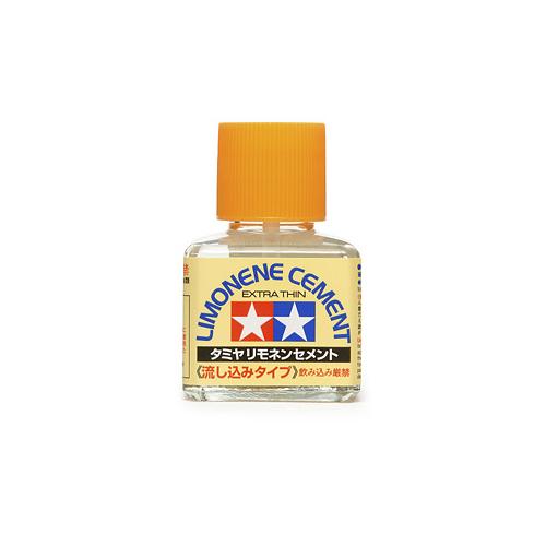 Tamiya Cement Limonene Extra Thin Клей с запахом лимона жидкий, с кисточкой 40 мл