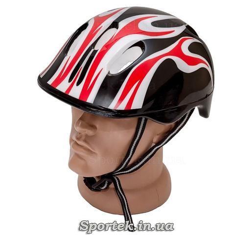 Велошлем для взрослых и подростков (черно-бело-красный)