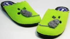 Войлочные тапочки для девушек Inblu NC- 1B Mouse Light Green