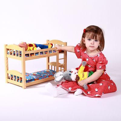 Кукольная кроватка деревянная двухъярусная