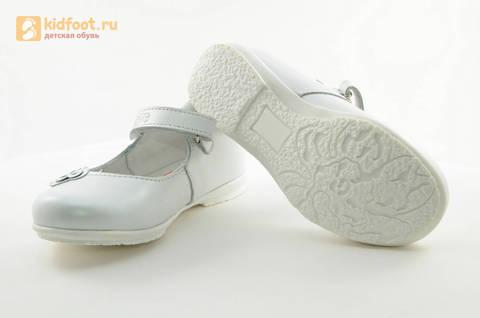 Туфли Тотто из натуральной кожи на липучке для девочек, цвет Белый, 10204A. Изображение 9 из 16.