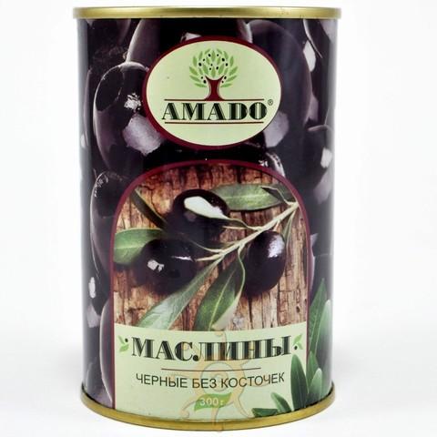 Маслины черные без косточки в ж/б Амадо, 300г