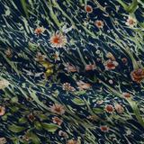 Синий плательно-блузочный шелк с цветами