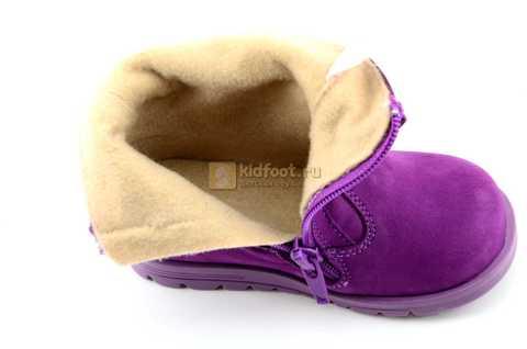 Полусапожки демисезонные Тотто из натуральной кожи на байке для девочек, цвет фиолетовый. Изображение 11 из 13.