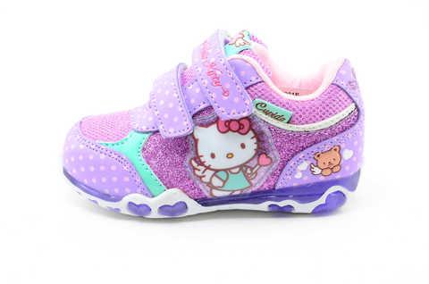Светящиеся кроссовки для девочек Хелло Китти (Hello Kitty) на липучках, цвет сиреневый, мигает картинка сбоку. Изображение 3 из 12.