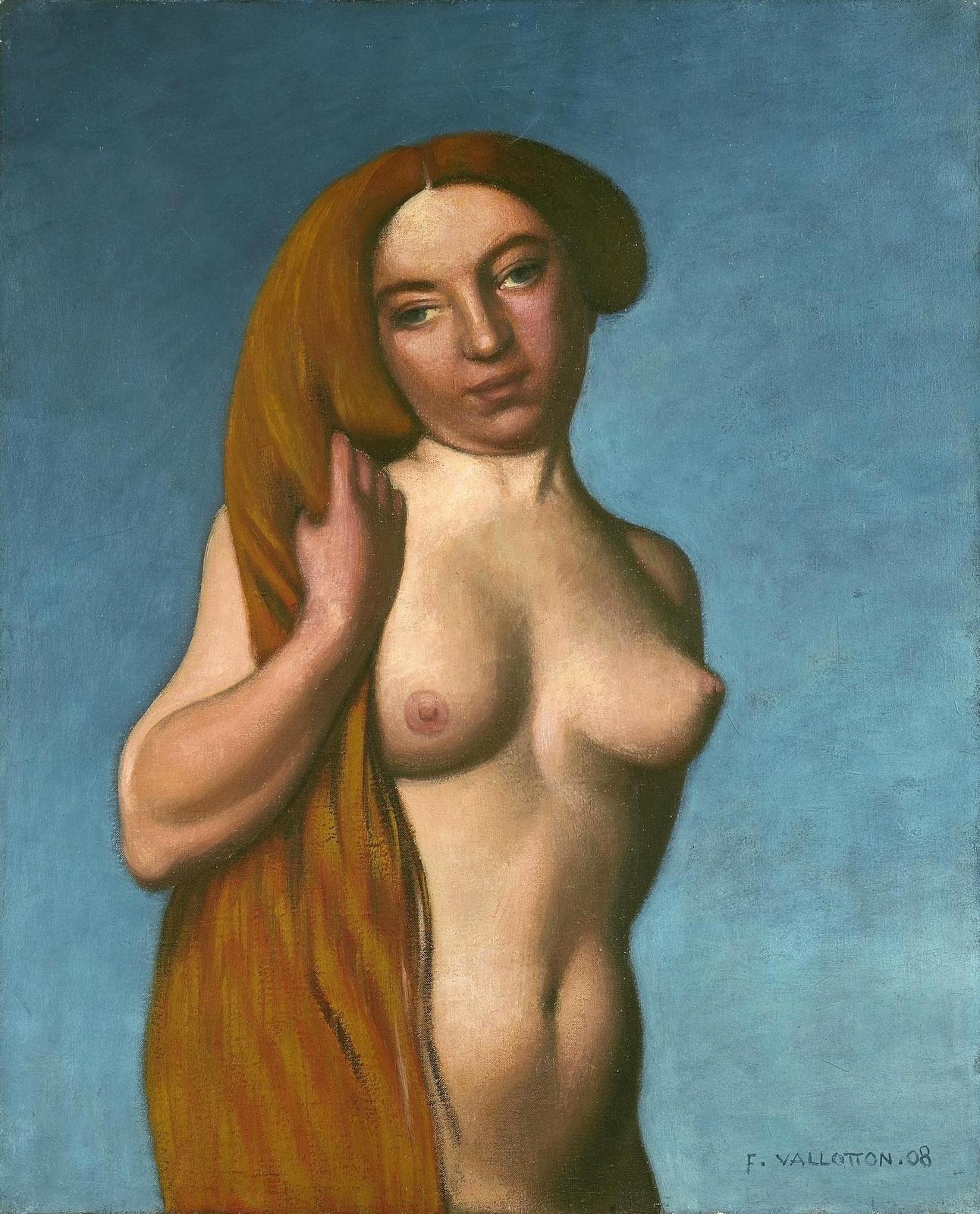 Феликс Валлеттон. 1908. Торс девушки с рыжими волосами (Torse De Femme, Cheveux Roux Defaits). 61 х 50. Холст, масло. Частное собрание.