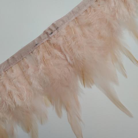 Тесьма  из перьев петуха h- 8-10см., розовые румяна
