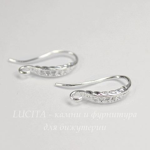 Швензы - крючки с узором, 18 мм (цвет - серебро), пара