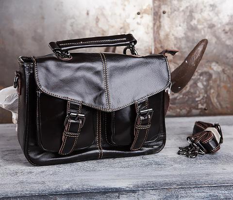 Вместительная мужская сумка портфель из натуральной кожи