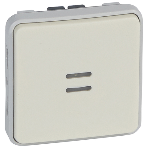 Выключатель одноклавишный проходной с индикацией Однополюсный переключатель на два направления с индикацией в комплекте с лампой - 10 AX - 250 В~. Цвет Белый. Legrand Plexo (Легранд Плексо). 069612