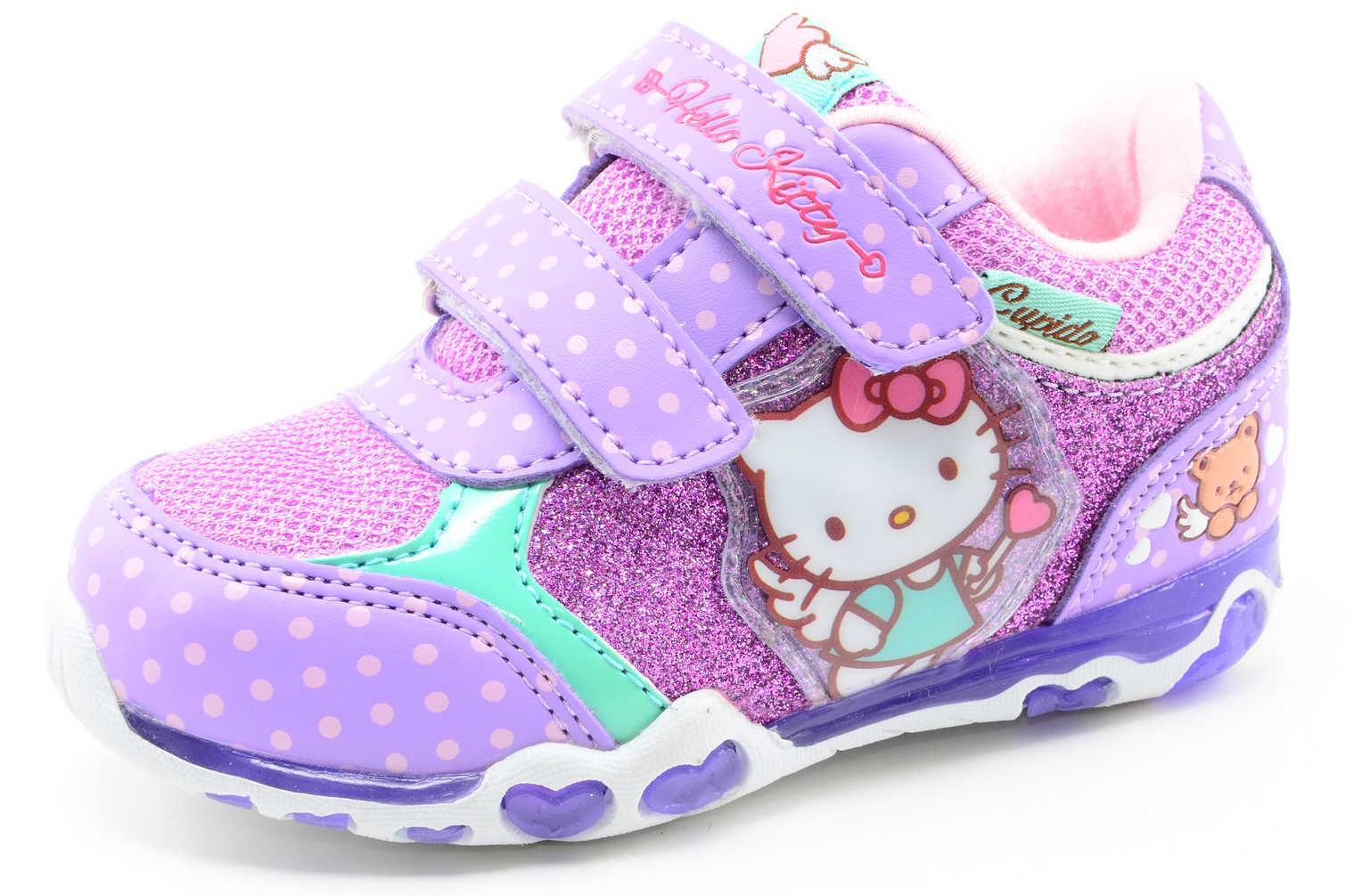 Светящиеся кроссовки для девочек Хелло Китти (Hello Kitty) на липучках, цвет сиреневый, мигает картинка сбоку