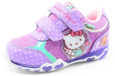 Светящиеся кроссовки для девочек Хелло Китти (Hello Kitty) на липучках, цвет сиреневый, мигает картинка сбоку. Изображение 1 из 12.