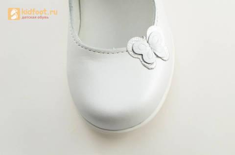 Туфли Тотто из натуральной кожи на липучке для девочек, цвет Белый, 10204A. Изображение 12 из 16.