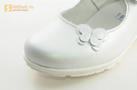 Туфли Тотто из натуральной кожи на липучке для девочек, цвет Белый, 10204A. Изображение 13 из 16.