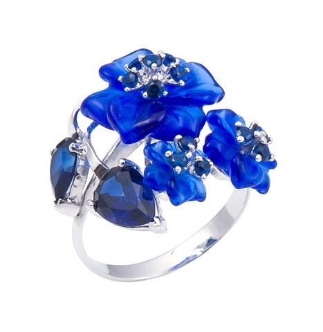 Кольцо с цветами из кварца и сапфиром Арт. 1194сс
