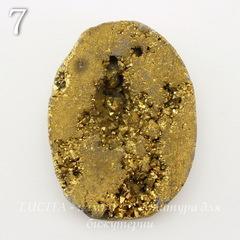 Бусина Агат с Кварцем с жеодой (тониров), цвет - золотой, 34-35 мм