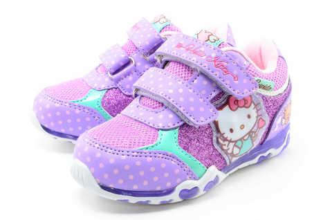 Светящиеся кроссовки для девочек Хелло Китти (Hello Kitty) на липучках, цвет сиреневый, мигает картинка сбоку. Изображение 6 из 12.