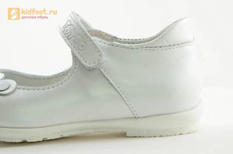 Туфли Тотто из натуральной кожи на липучке для девочек, цвет Белый, 10204A. Изображение 14 из 16.